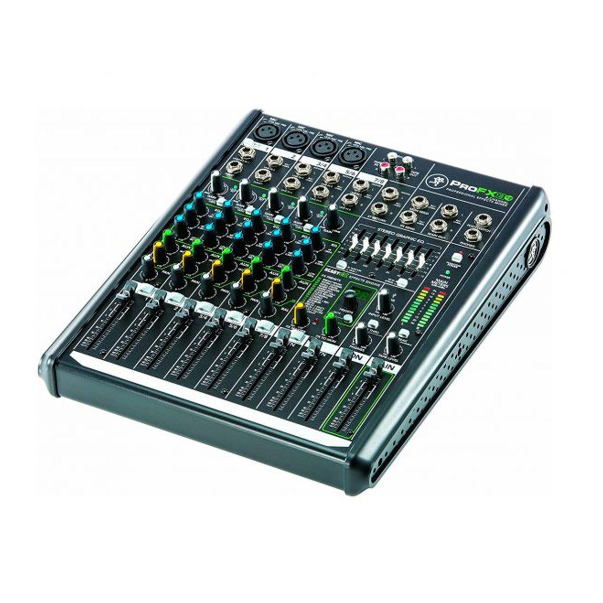 Mesa 4 XLR / 3 CH estéreo, 1 AUX e USB Mackie PROFX8V2