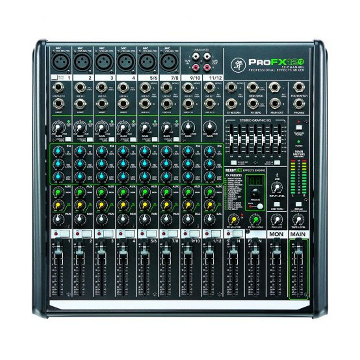 Mesa p/ 6 Mics + 4 Ch estéreo, 1 AUX, USB e FX Mackie PROFX12V2