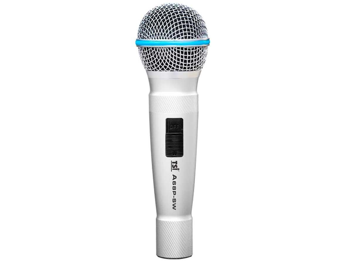 Microfone com fio dinâmico cardioide com corpo de alumínio | Acompanha case e cabo | TSI | A68P-SW