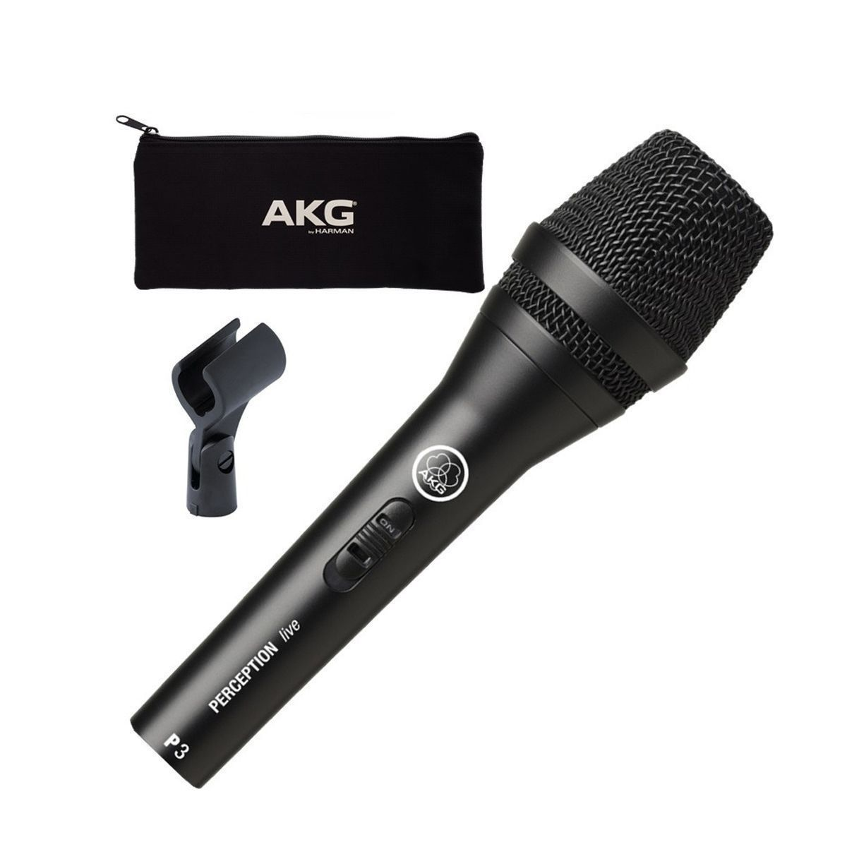 Microfone dinâmico cardioide chave on/of  AKG P3S