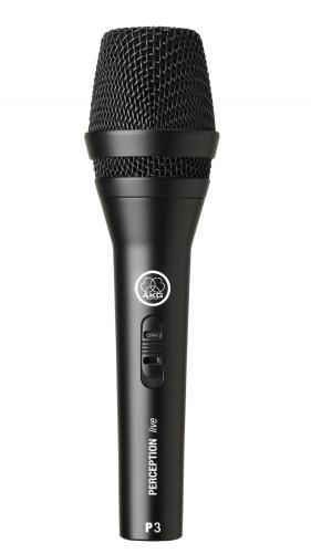 Microfone dinâmico cardioide de alto desempenho com chave liga / desliga | AKG | P3S