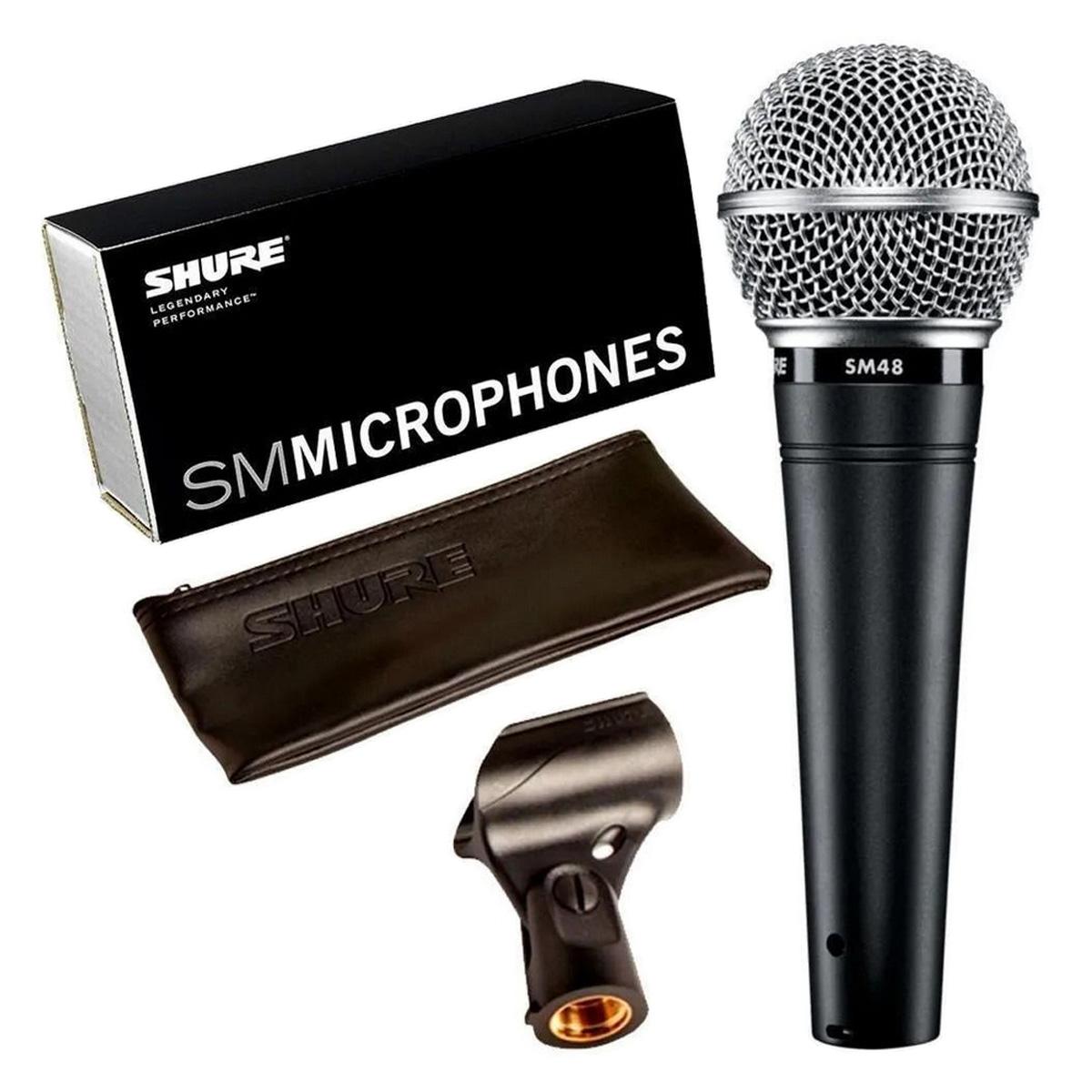 Microfone Dinâmico Cardioide para voz SHURE SM48-LC