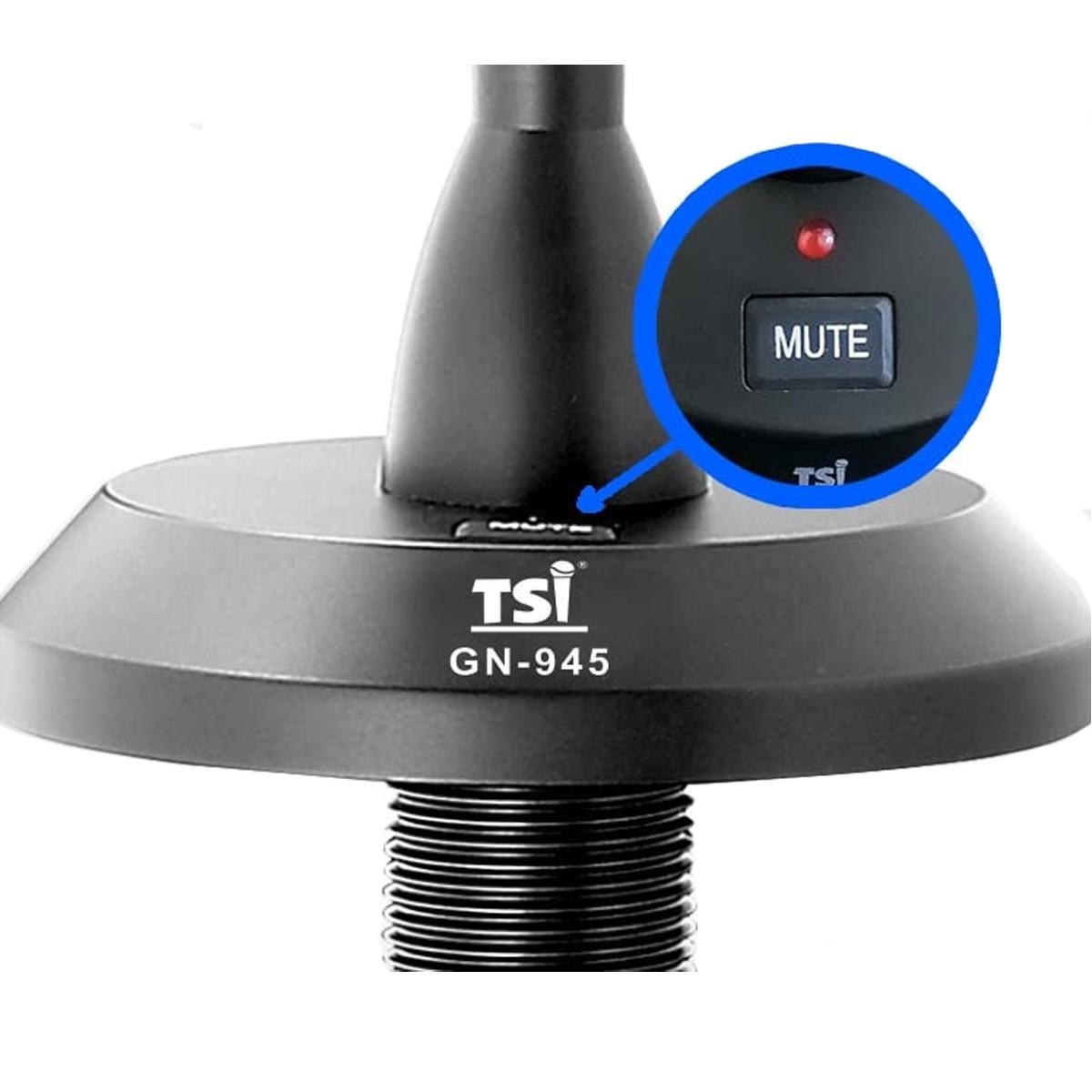 Microfone gooseneck p/ fixacao haste de 45cm TSI GN-945