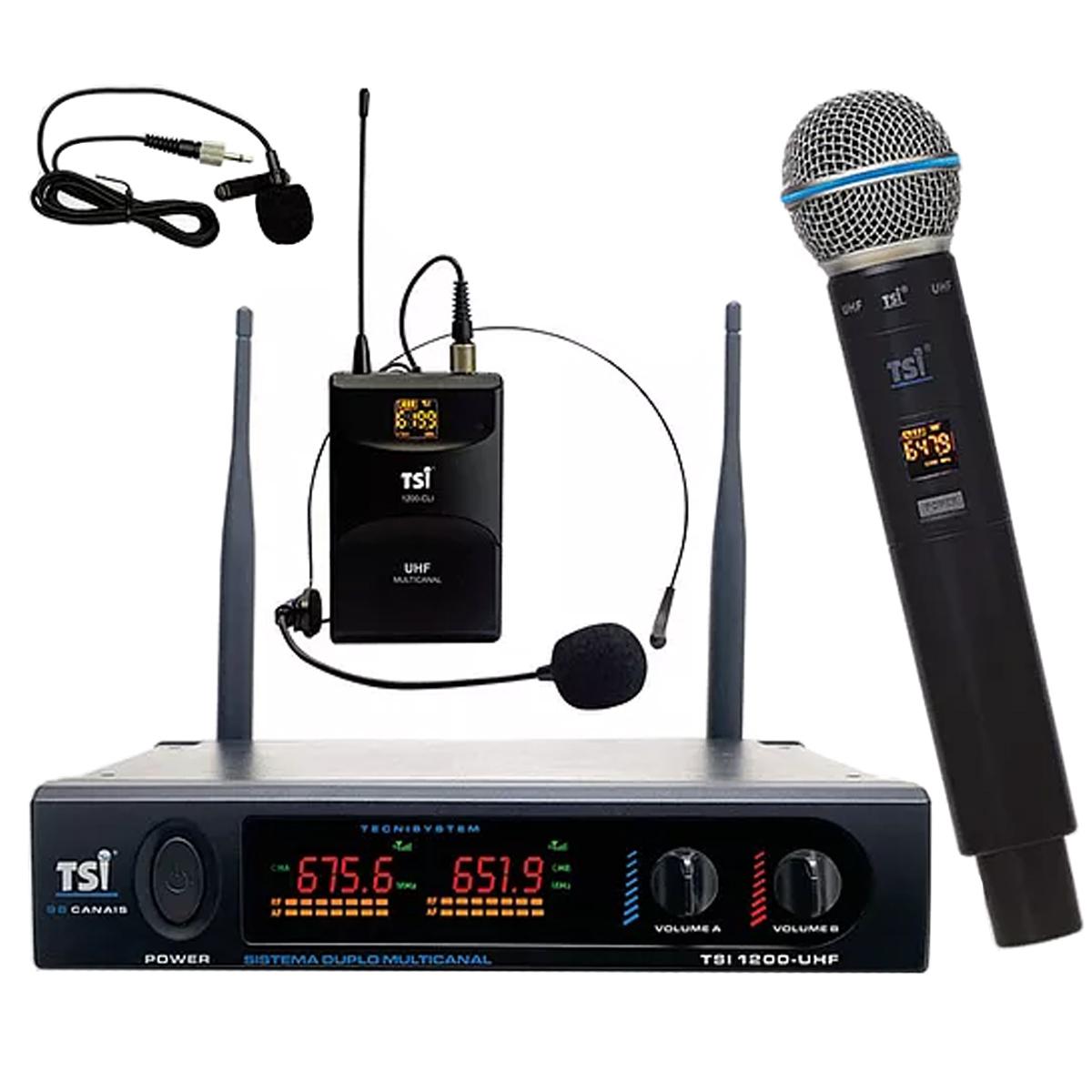 Microfone sem fio com Mão + Lapela UHF TSI 1200-CLI-UHF