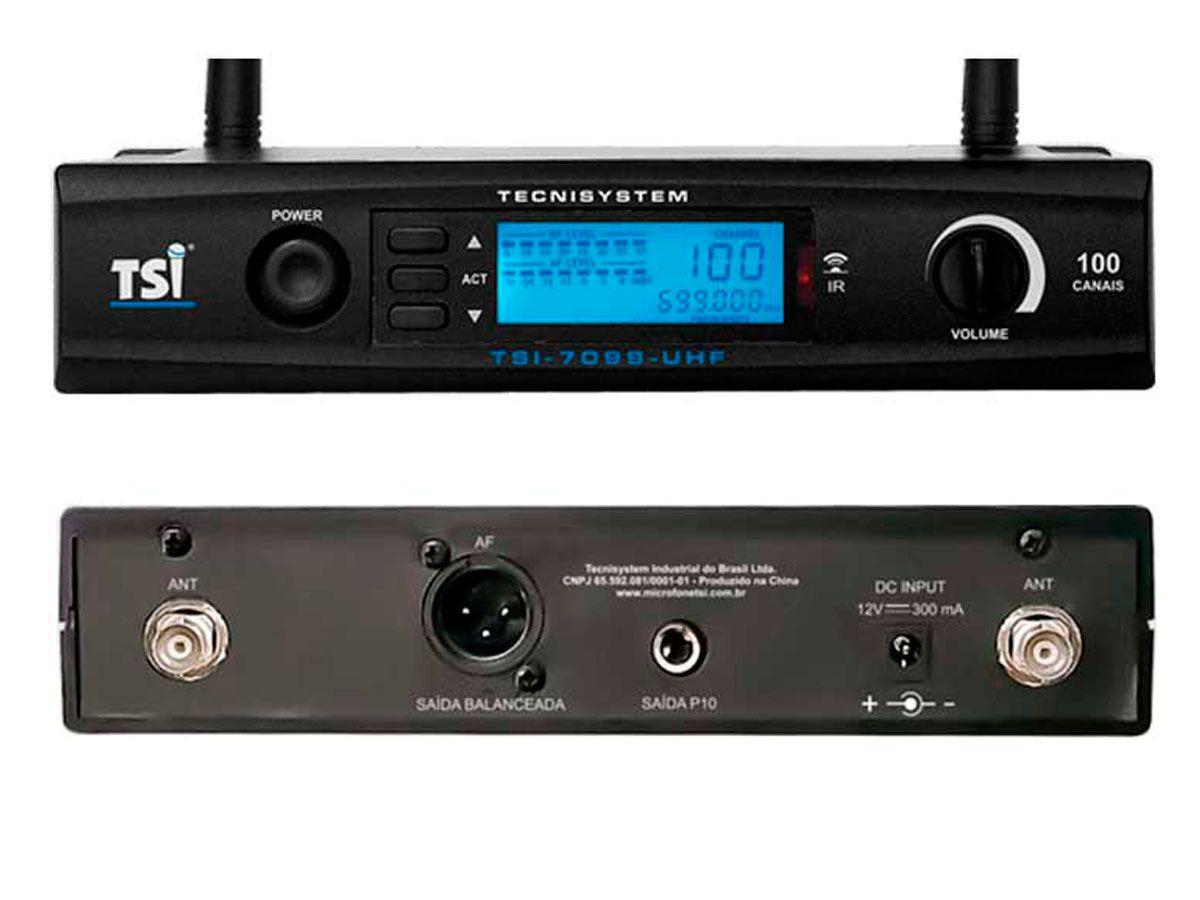 Microfone sem fio de mão Super Cardioide UHF com Digital de 100 canais | TSI | 7099-UHF