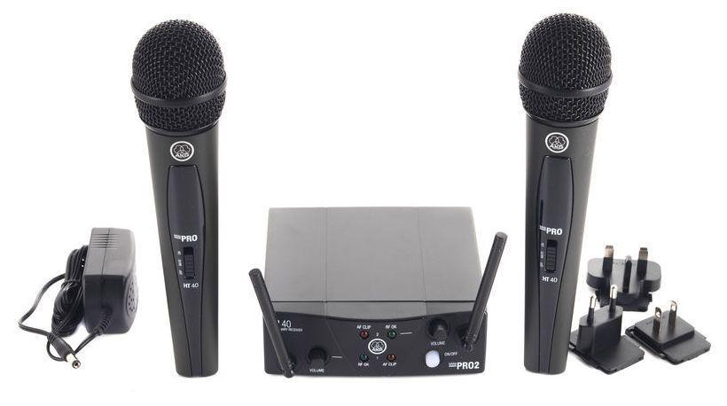 Microfone sem fio duplo, cardioide e banda US25B - US25D | WMS40 Mini Dual Vocal Set | AKG