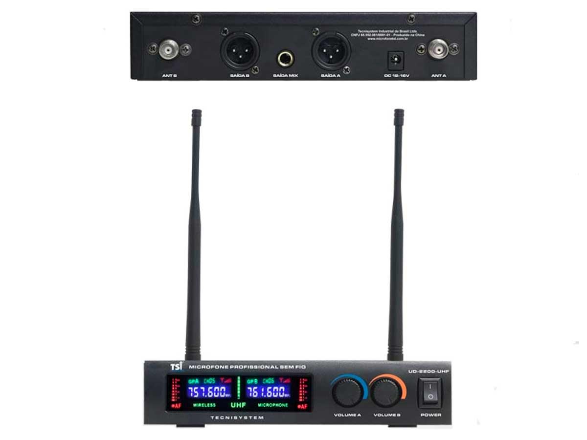Microfone sem fio Duplo Mão Super cardioide TSI UD2200UHF
