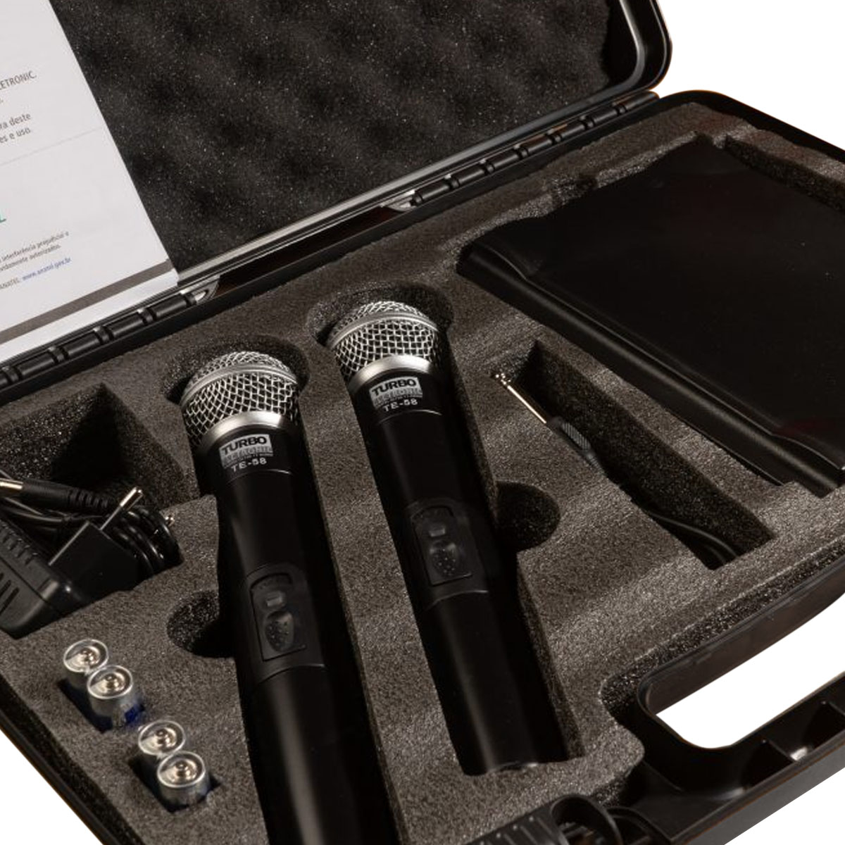 Microfone sem Fio Duplo de Mão UHF TURBO MUSIC - TE58