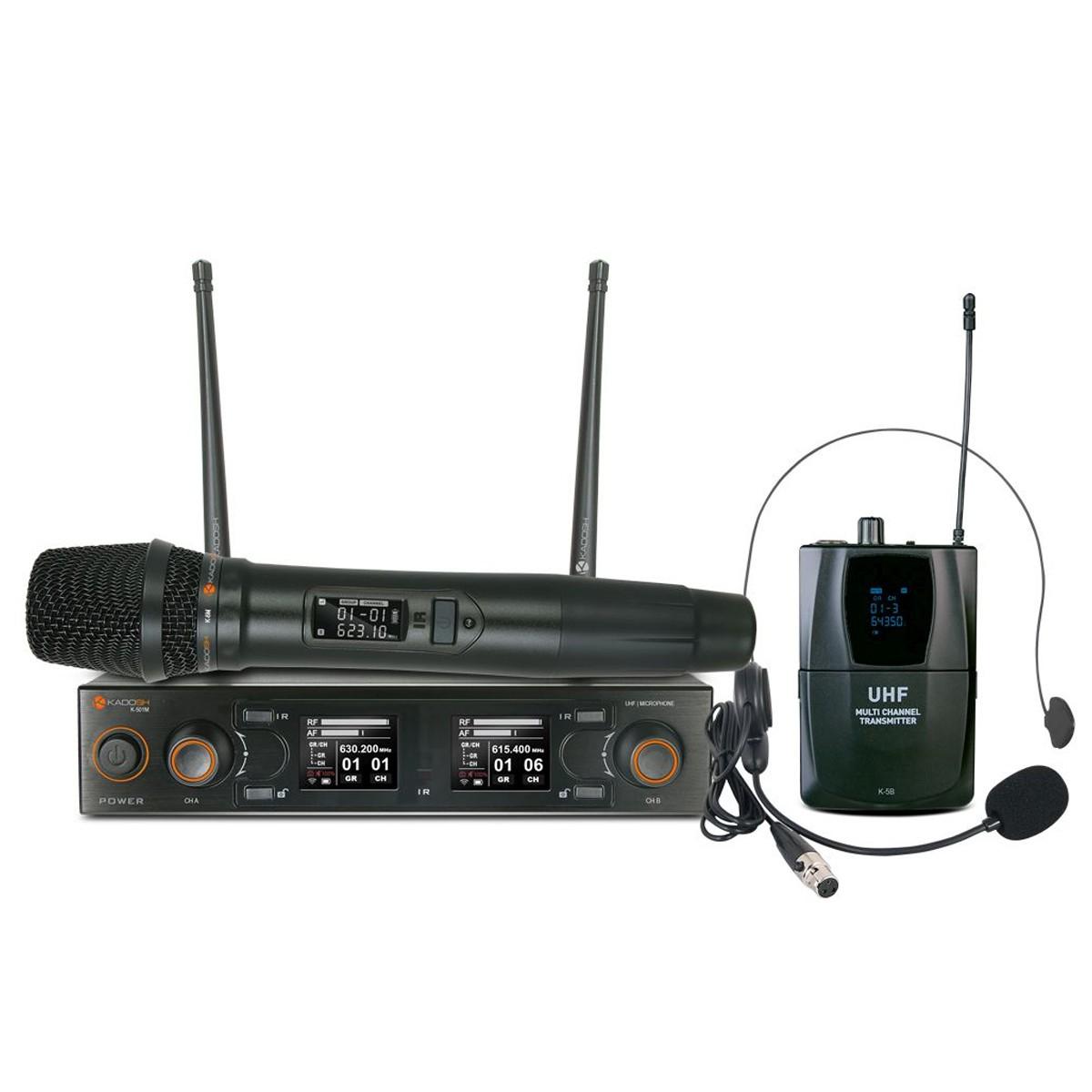 Microfone sem fio Duplo UHF Kadosh K502C Mão e Headset