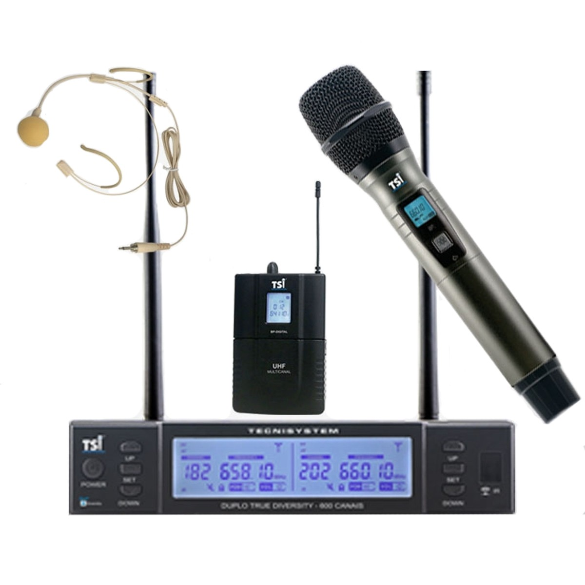 Microfone sem fio Mao e Headset 600 canais TSI BR8000CLI
