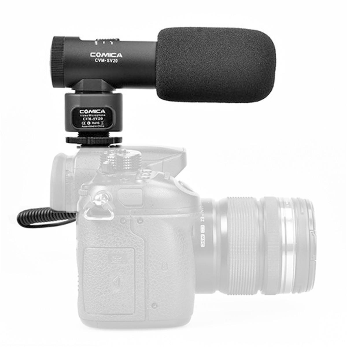 Microfone Shotgun p/ Câmera com 2 capsulas Comica CVM-SV20