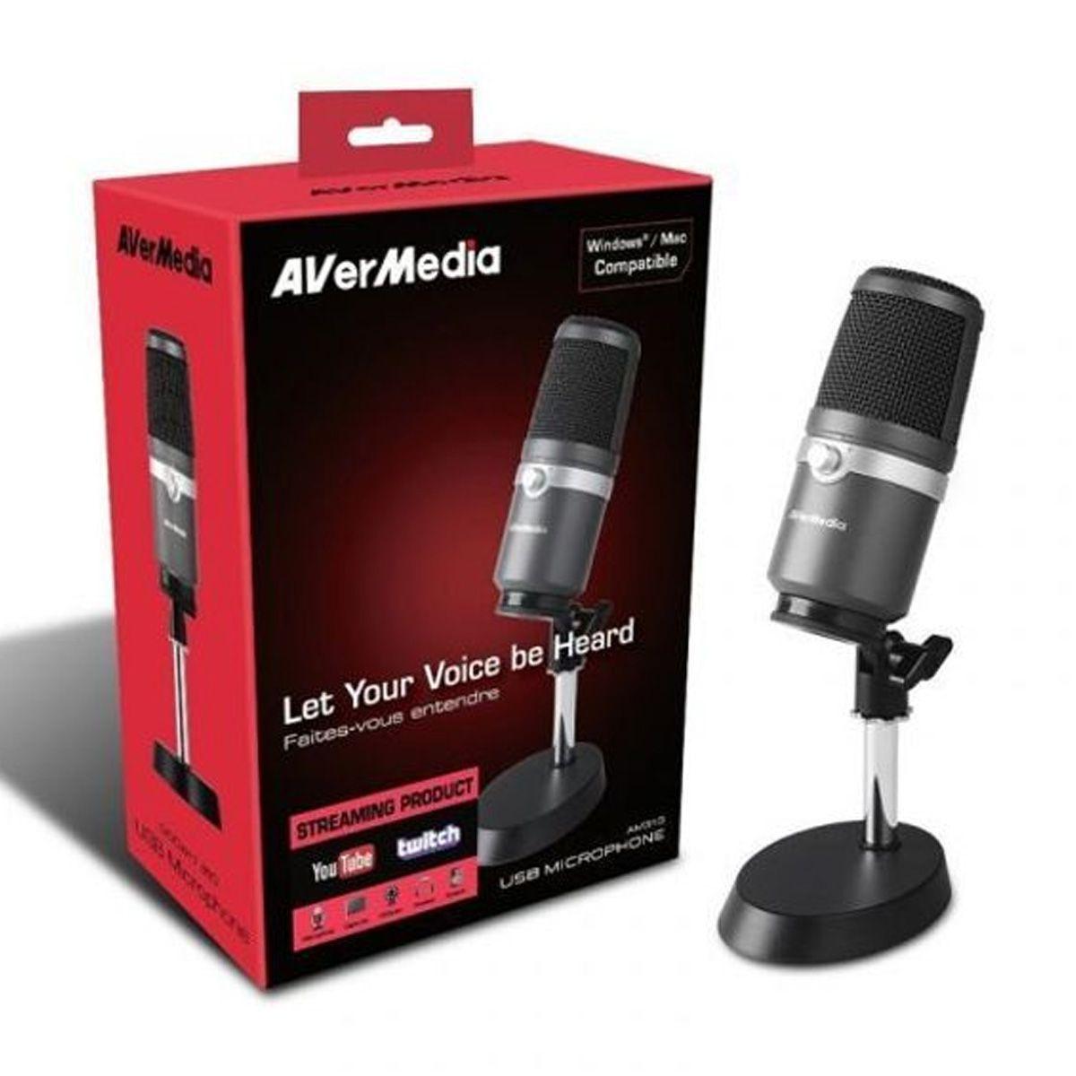 Microfone USB p/ PC, Live, Stream, PodCast AverMedia AM310