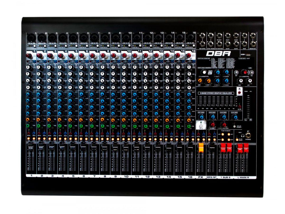 Mixer analogico com 16 canais XLR e 4 auxiliares   FX, USB e Bluetooth   DBR   DM16USB