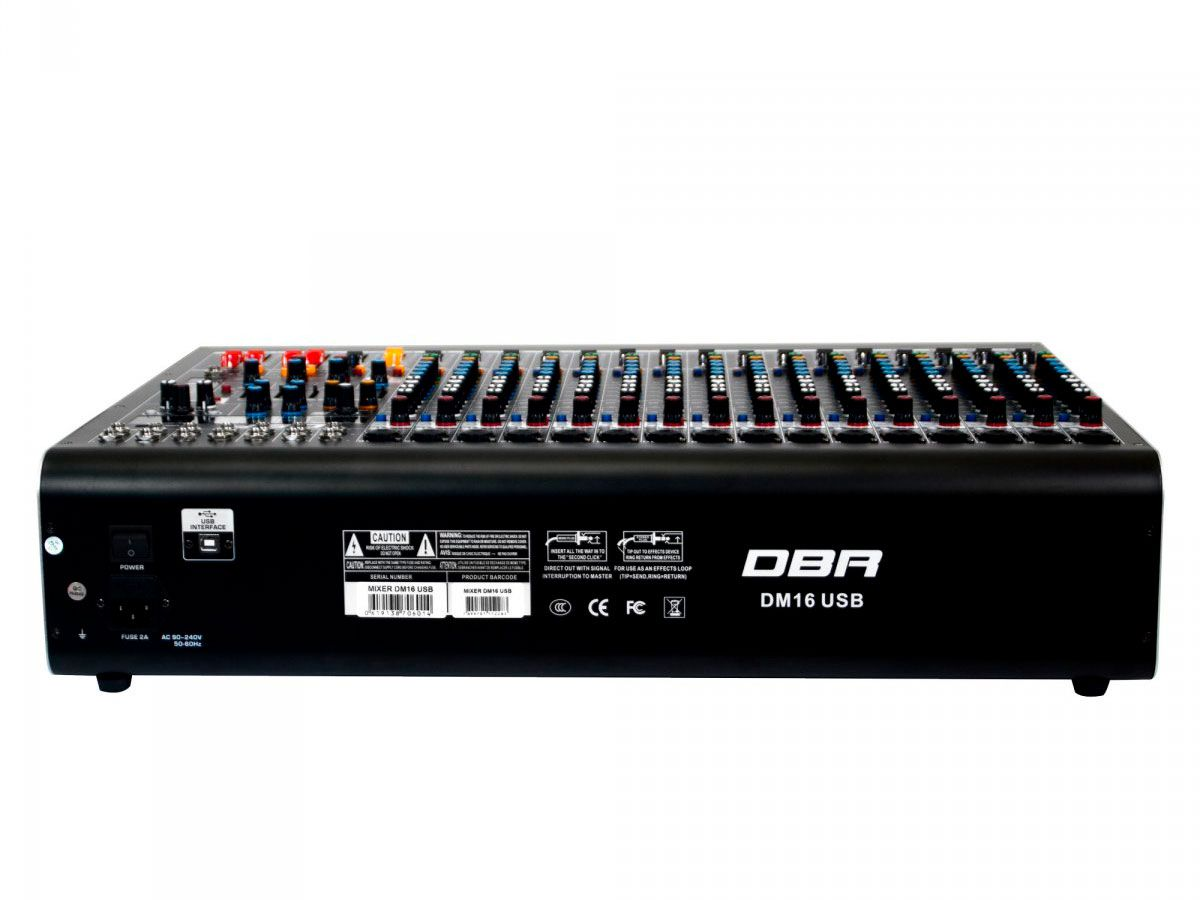 Mixer analogico com 16 canais XLR e 4 auxiliares | FX, USB e Bluetooth | DBR | DM16USB