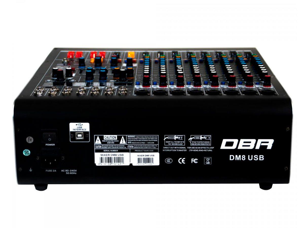 Mixer analógico com 8 canais XLR e 4 auxiliares | FX, USB e Bluetooth | DBR | DM8USB