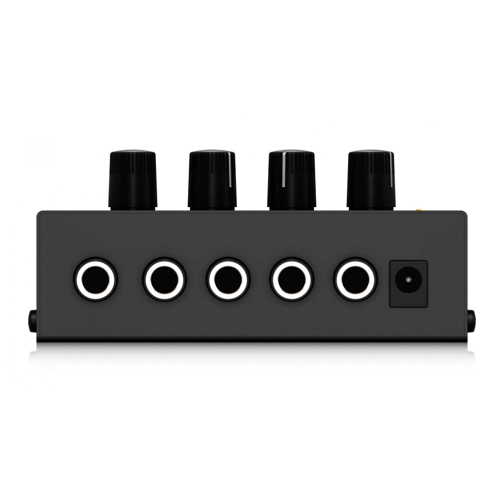 Mixer de 4 canais com 4 entrada e 1 saída   Conexão P10 mono TS   Fonte Bivolt   Behringer   MX400
