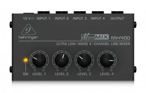 Pacote com 2 Mixer de 4 canais com 4 entrada e 1 saída   Conexão P10 mono TS   Fonte Bivolt   Behringer   MX400
