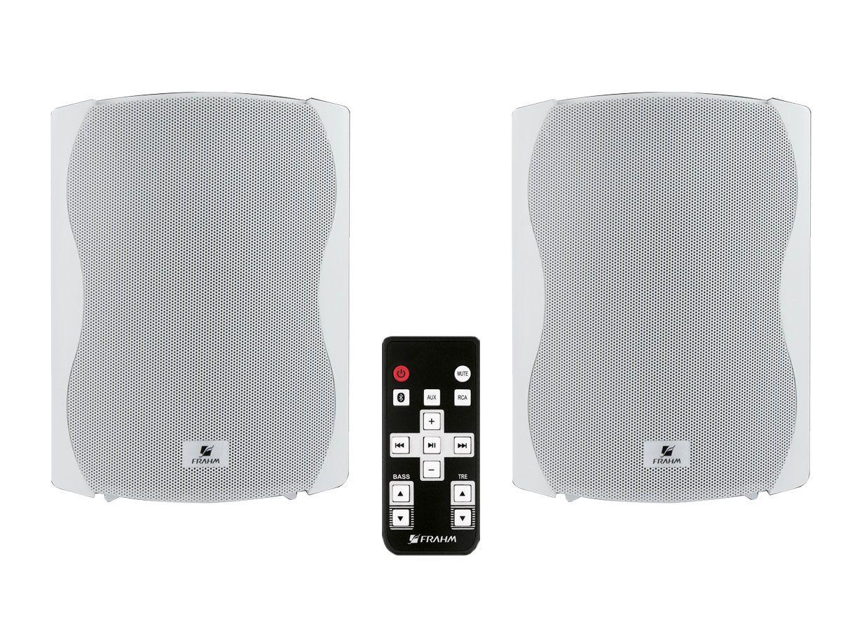 Par de caixas acústicas Branca Ativa + Passiva com Bluetooth de 6 polegadas e 120W RMS | Frahm | KIT PS PLUS BT 6