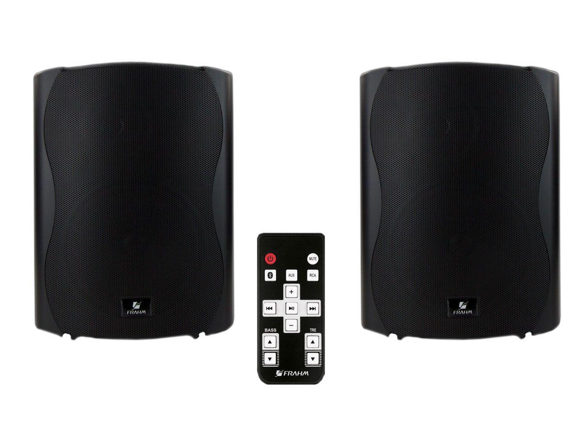 Par de caixas acústicas Preta Ativa + Passiva com Bluetooth de 6 polegadas e 120W RMS | Frahm | KIT PS PLUS BT 6