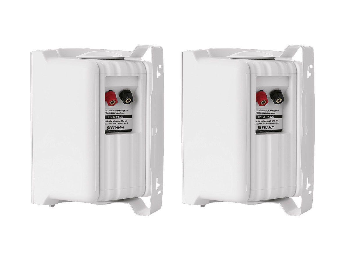 Par de caixas para som ambiente, passiva na cor branca de 4 polegadas e 40W RMS em 8 ohms | Frahm | PS 4 PLUS
