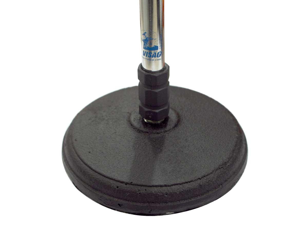 Pedestal girafa cromado com base de ferro para microfone de 48 a 79 cm de altura | VISAO | PS-3G