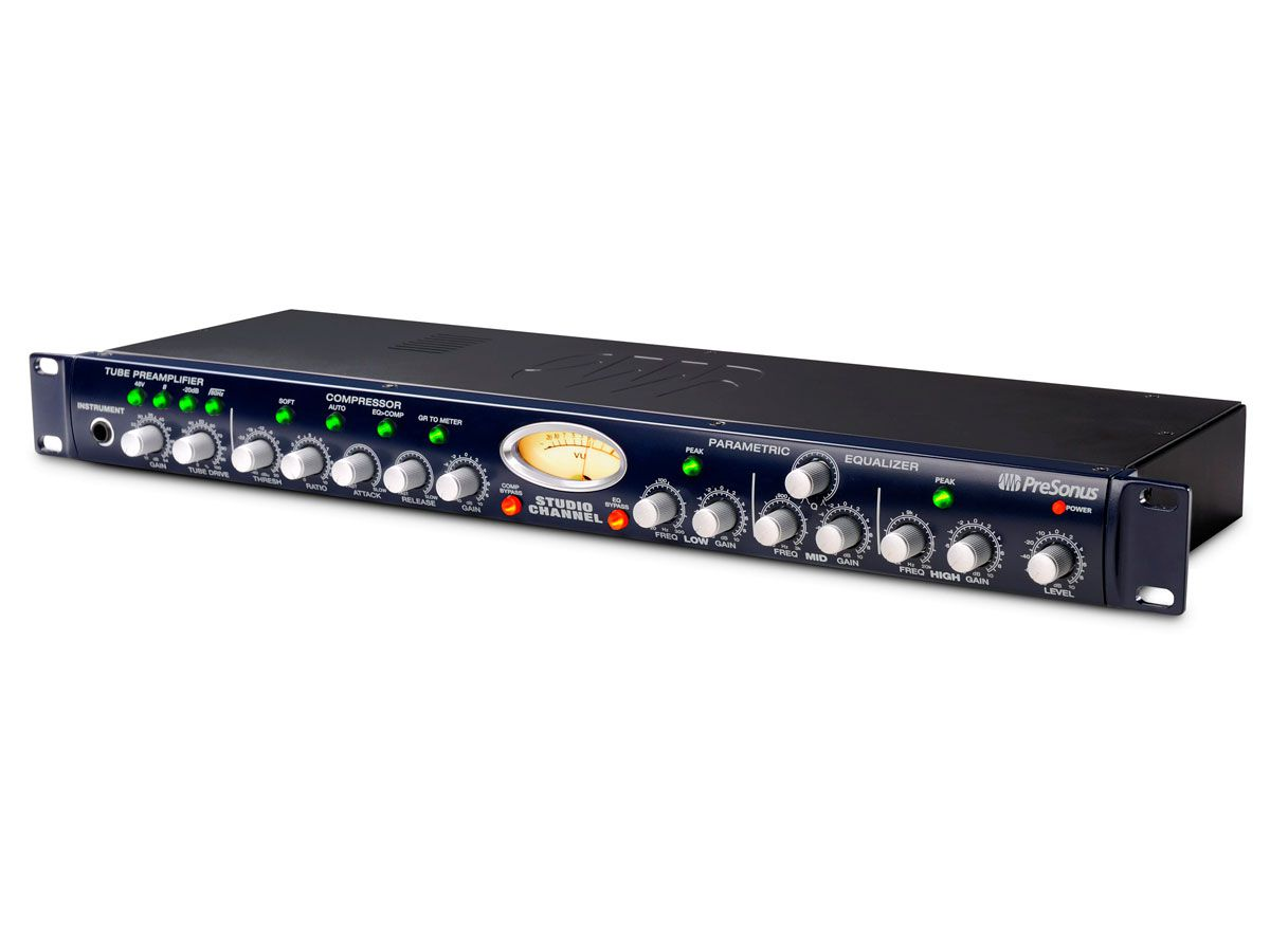 Pré-amplificador valvulado, Equalizador de 3 bandas e Compressor   Presonus   Studio Channel