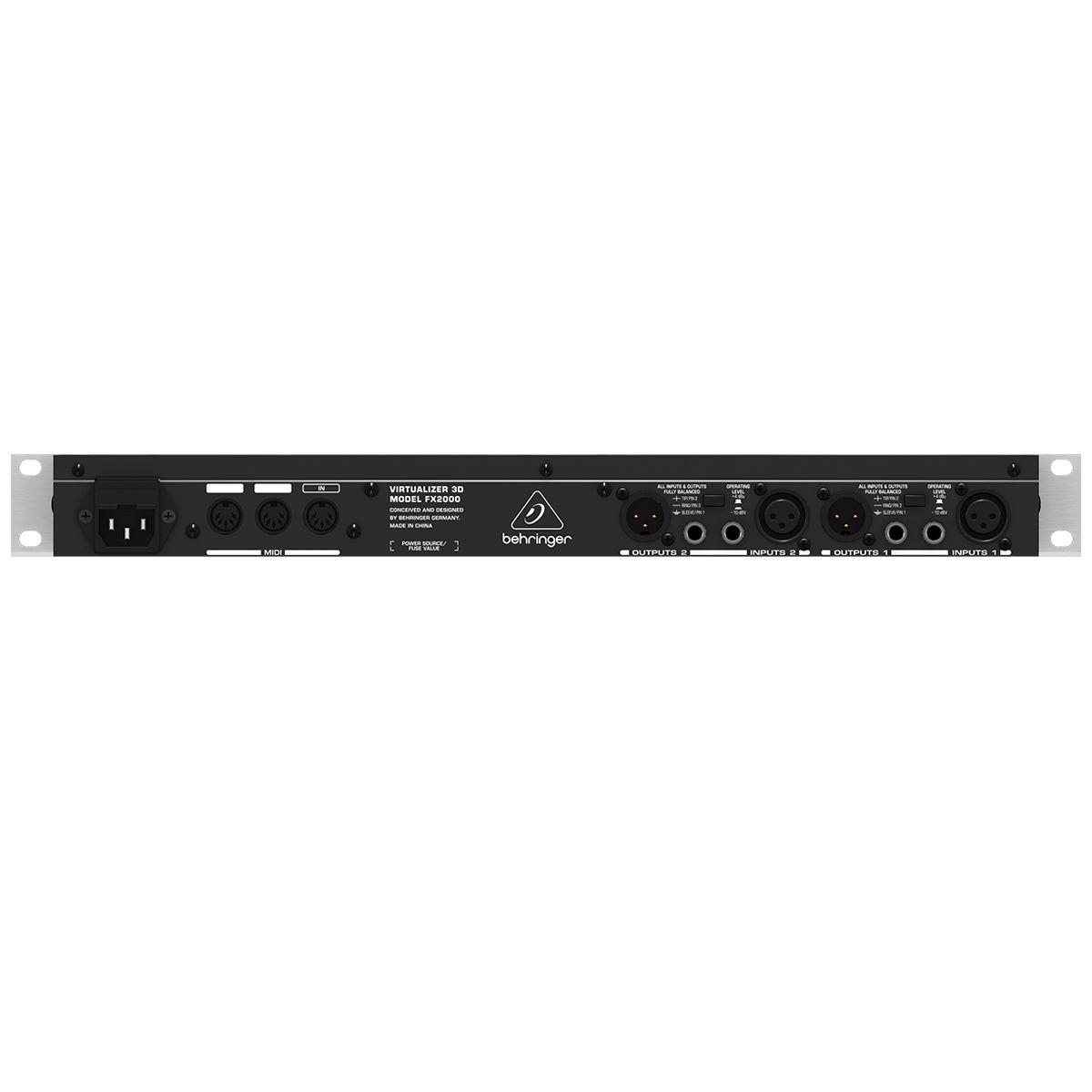 Processador de Efeitos estéreo e 100 presets de fábrica | Behringer | VIRTUALIZER 3D FX2000