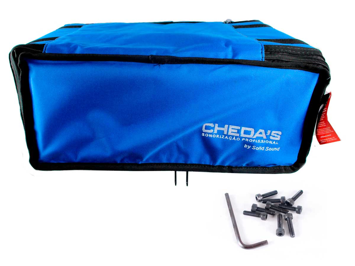 Bag Case 4U, barra dupla de alumínio, revestido com espuma e nylon azul | Solid Sound | BAG4UTAZ