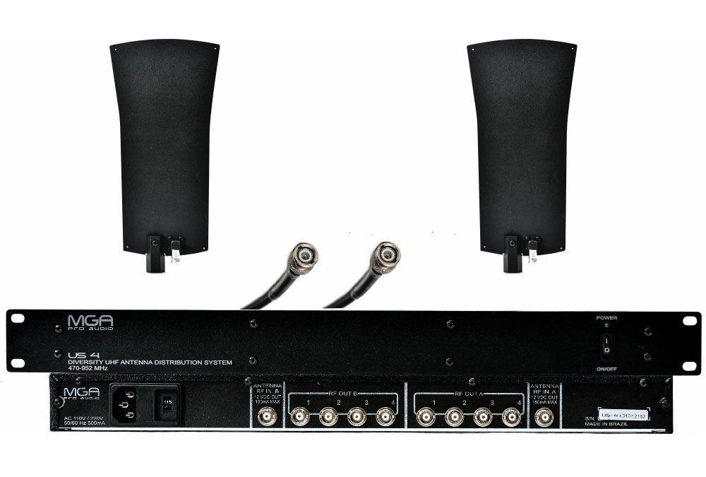 Sistema de distribuição RF para microfone UHF de 470 ~ 952 MHz   MGA Pro Audio   US-4 5050 A-2