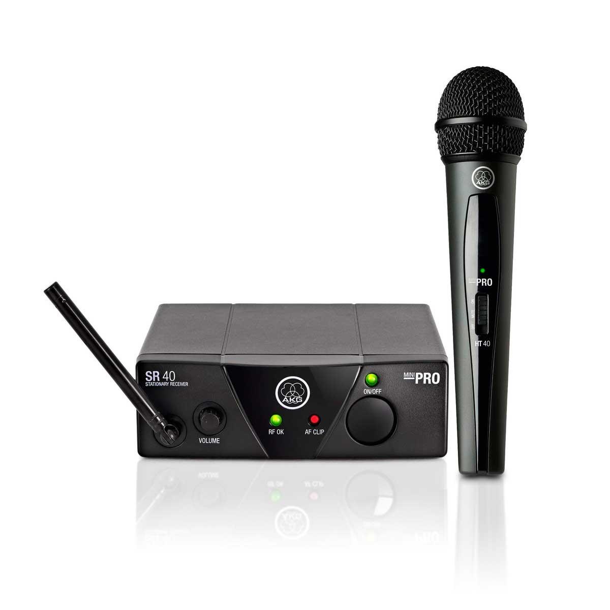 Sistema de microfone sem fio, cardioide e frequência US25C 539.300 MHz | WMS40 Mini Vocal Set | AKG