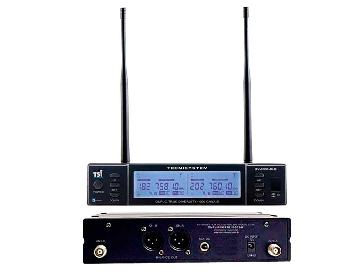 Microfone sem fio duplo de mão com sistema QUAD DIVERSITY de 600 canais | BR-8000-UHF | TSI