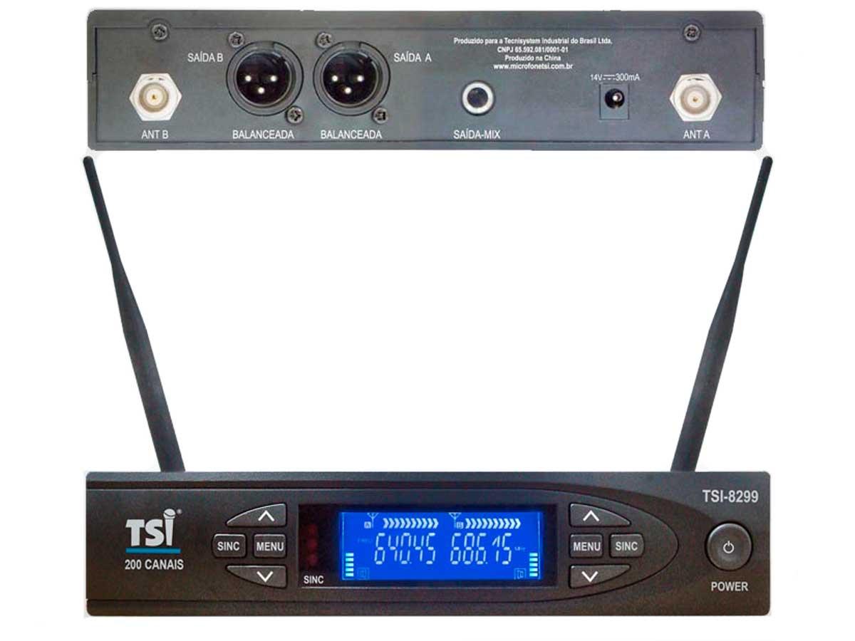 Sistema de microfone sem fio duplo de mão com 200 canais UHF | TSI | 8299-UHF