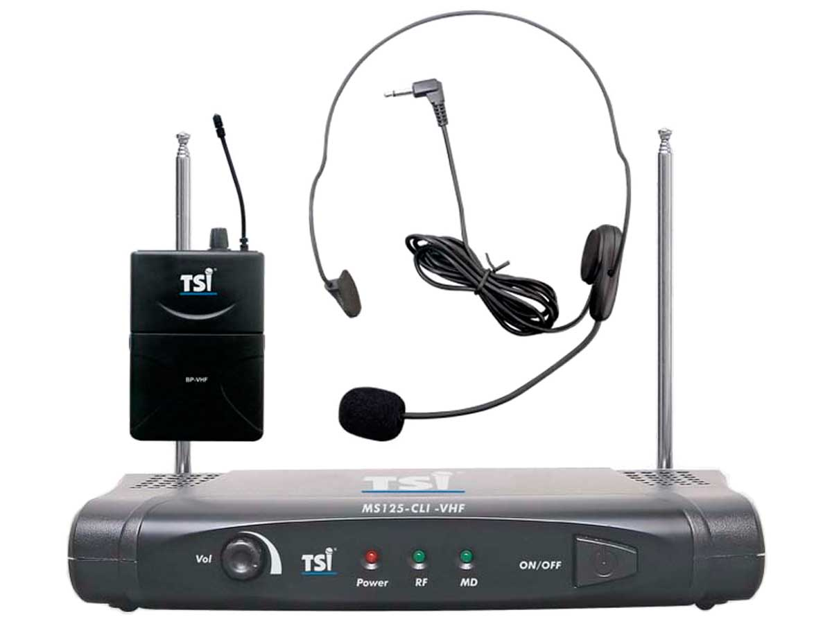 Microfone sem fio VHF  Headset | TSI | MS125-CLI-VHF