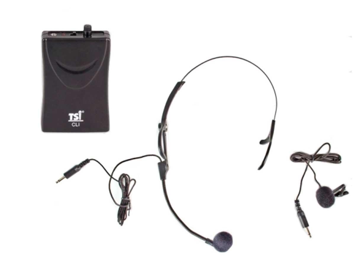 Sistema de microfone sem fio VHF   Microfone transmissor Lapela e Headset   TSI   MS115 CLI-VHF