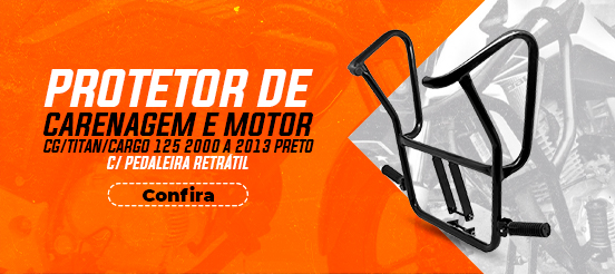 PROTETOR DE MOTOR/CARENAGEM CG/TITAN/CARGO 125 2000 A 2013 PRETO C/ PEDALEIRA RETRÁTIL
