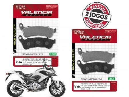 KIT 02 JOGOS DE PASTILHAS DE FREIO DIANTEIRO HONDA NC 700 X C/ABS 2012...(FREIO DUPLO) VL BRAKES(V64-FJ2360)