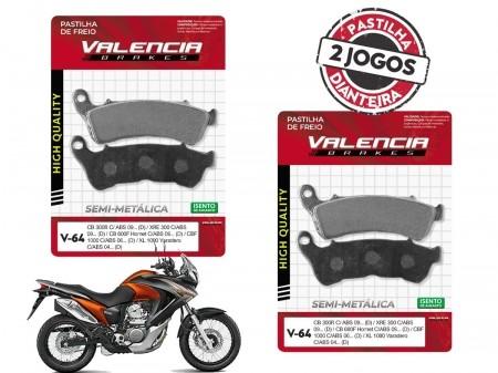 KIT 02 JOGOS DE PASTILHAS DE FREIO DIANTEIRO HONDA XL TRANSALP 700 C/ABS 2008...(FREIO DUPLO) VL BRAKES(V64-FJ2360)