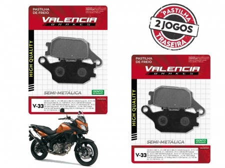 KIT 02 JOGOS DE PASTILHAS DE FREIO TRASEIRO SUZUKI DL V-STROM C/ABS 650 2012... VL BRAKES(V33-FJ1150)