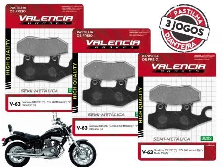 KIT 03 JOGOS DE PASTILHAS DE FREIO DIANTEIRO SUNDOWN V BLADE 250CC 2006... VL BRAKES(V63-FJ2080)