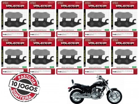 KIT 10 JOGOS DE PASTILHAS DE FREIO DIANTEIRO SUNDOWN V BLADE 250CC 2006... VL BRAKES(V63-FJ2080)
