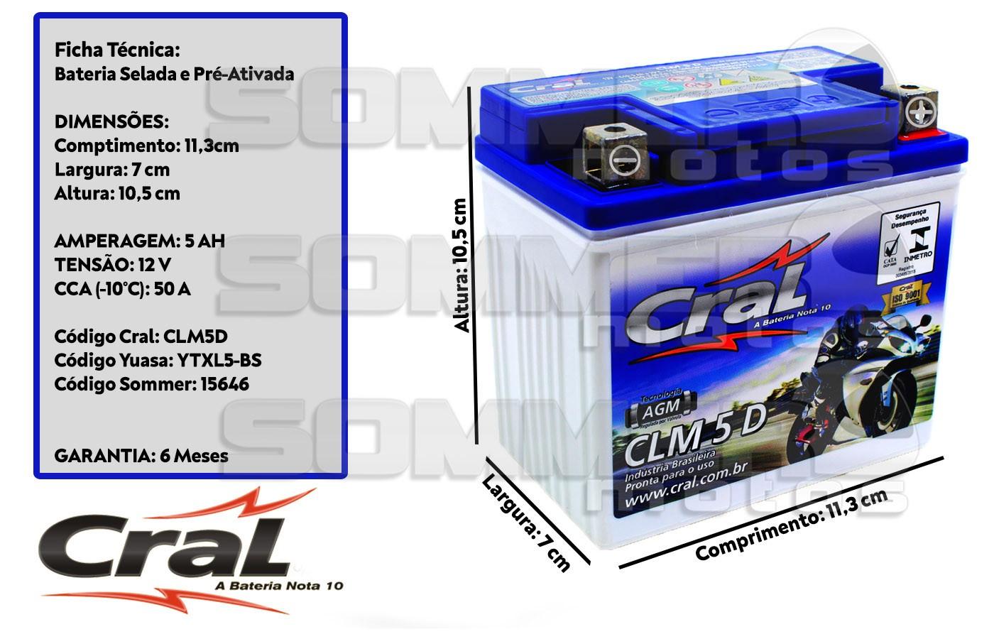 BATERIA CG/TITAN/FAN 125/150 KS 2000 A 2020 ORIGINAL CRAL (CLM5D-YTX5LBS)
