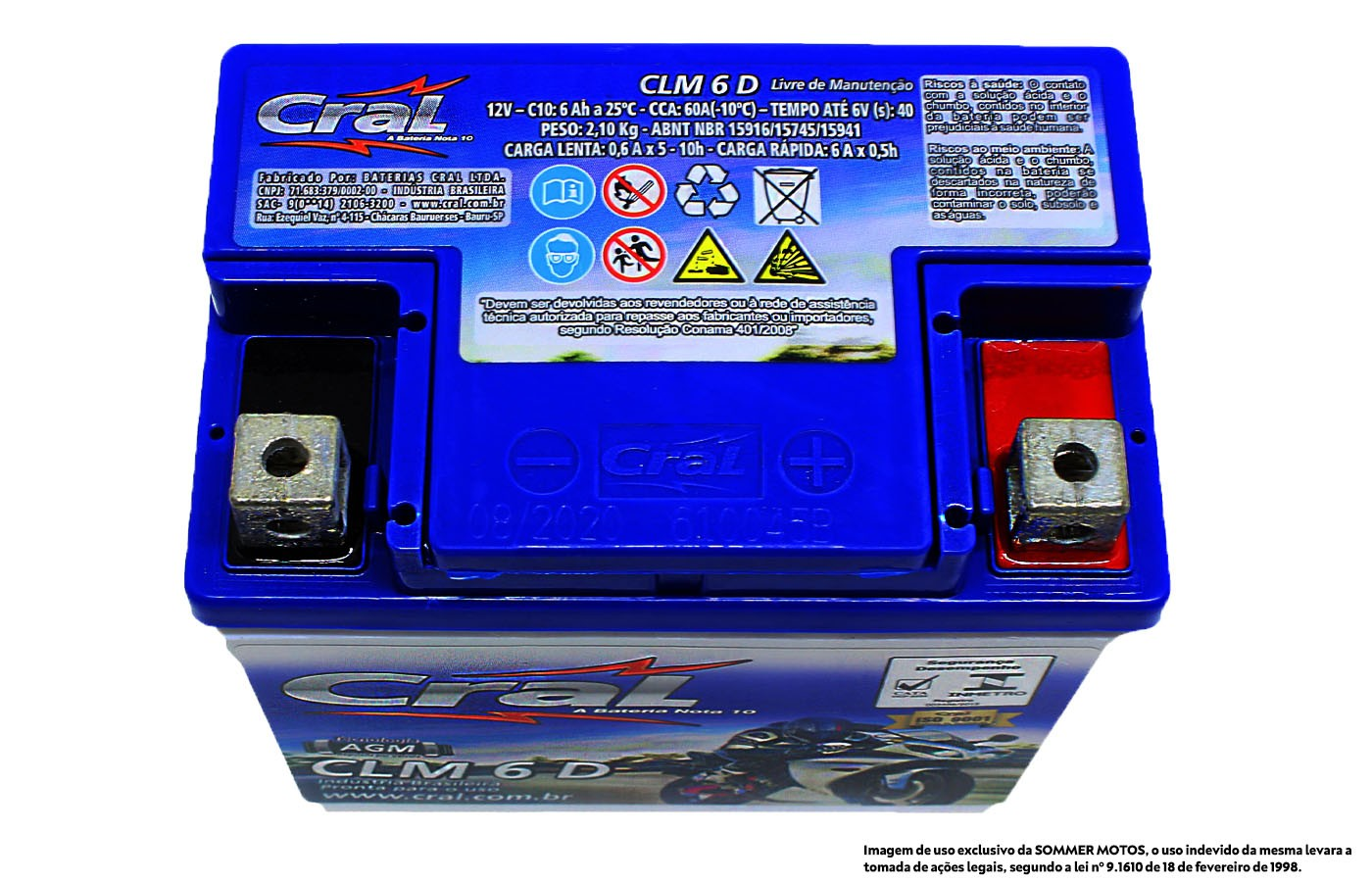 BATERIA CG/TITAN/FAN/JOB/MIX 125-150-160 ORIGINAL CRAL(CLM6D- YTZ6V)