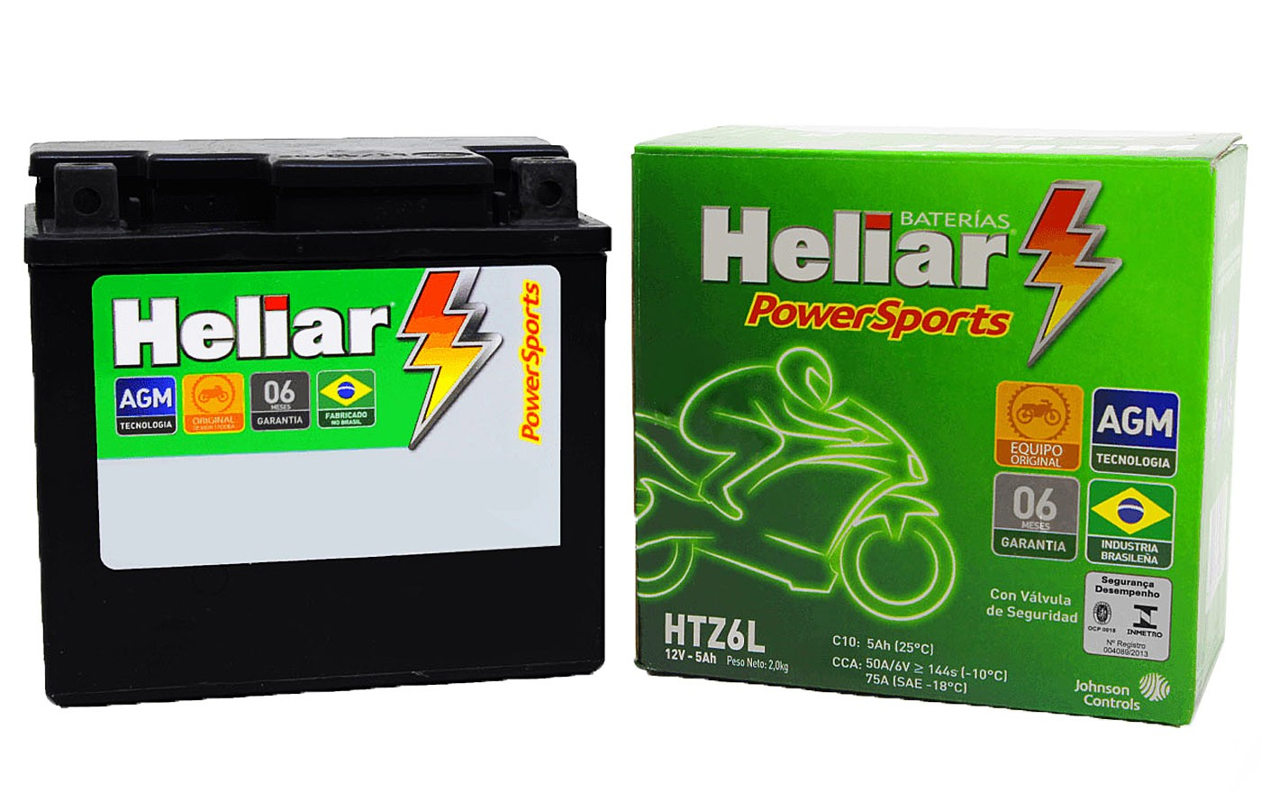 BATERIA CG/ TITAN/ FAN/ JOB/ MIX/ CARGO/ START 125-150-160 2000 A 2020 HELIAR (HTZ6L- YTZ6V)