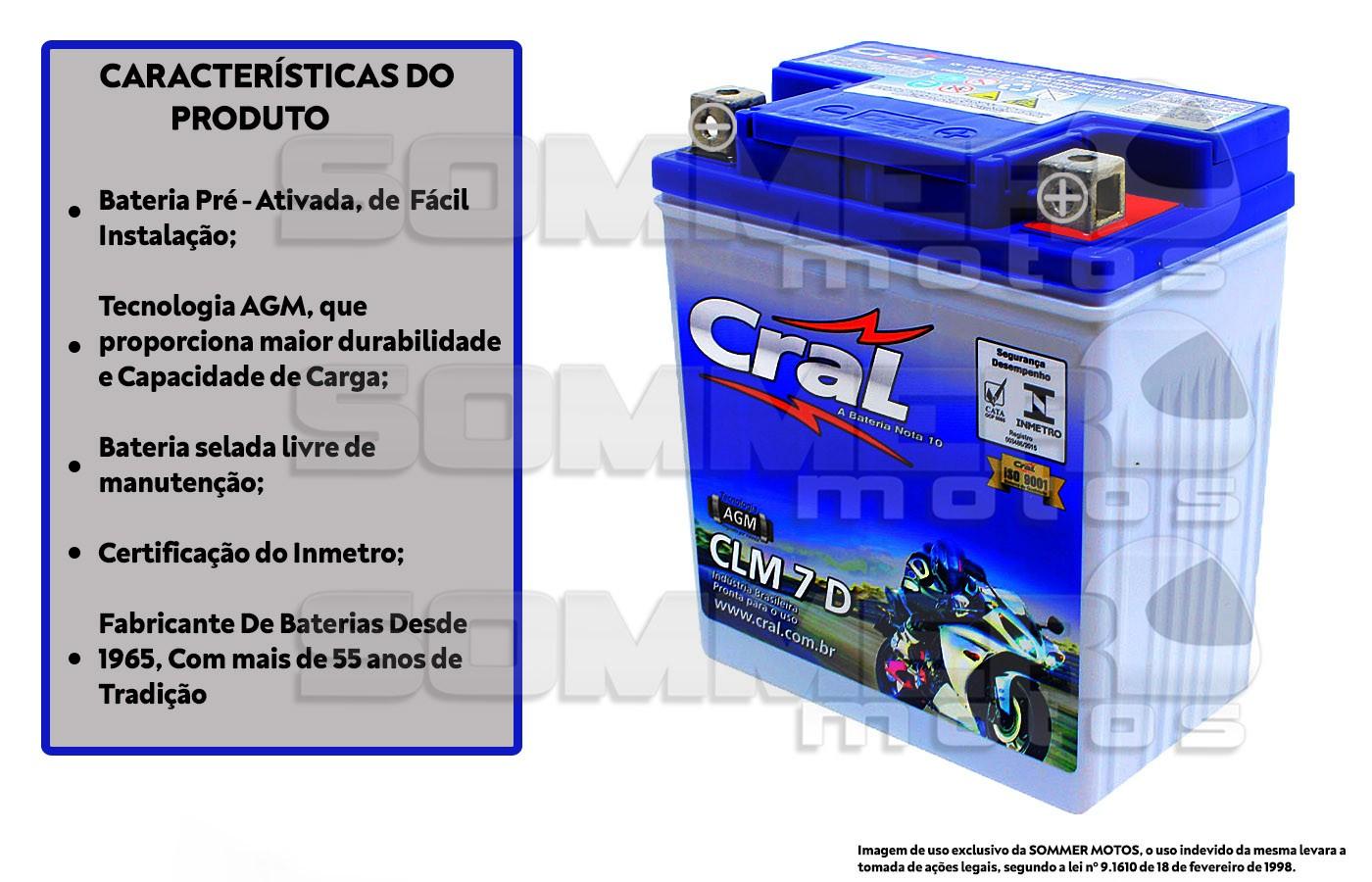 BATERIA DAFRA SPEED 150/ APACHE 150/ RIVA 150 ORIGINAL CRAL(CLM7D-YTX7L-BS)
