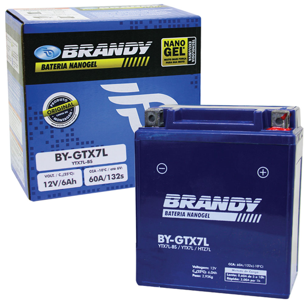 Bateria Fazer 250 / XTZ 250 Lander/Tenere 250 Original Brandy GEL (BY-GTX7L / YTX7L-BS)