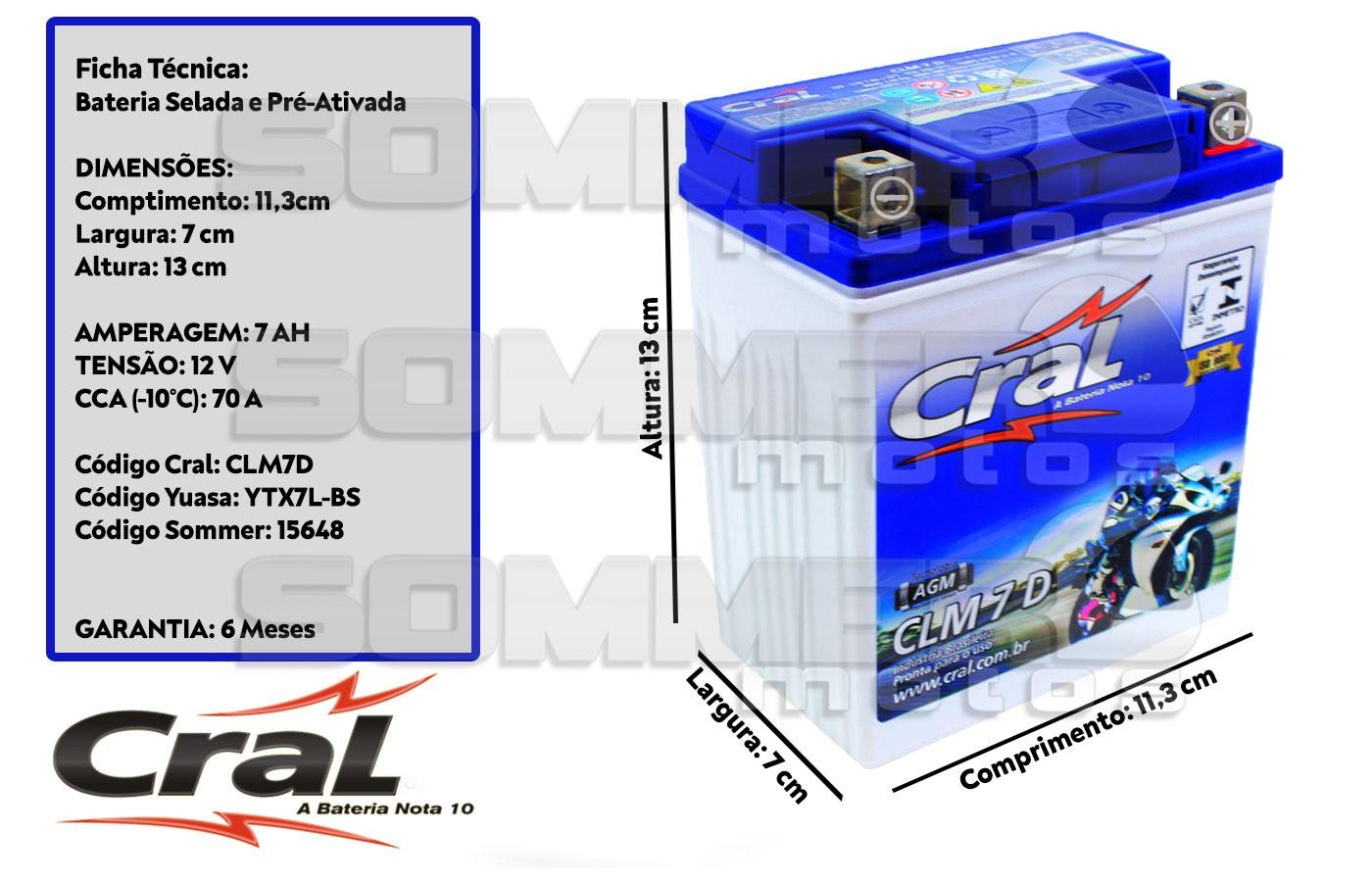 BATERIA KASINSKI FLASH 150/ SETA 125-150/WAY 125/ COMET 150 ORIGINAL CRAL(CLM7D-YTX7L-BS)