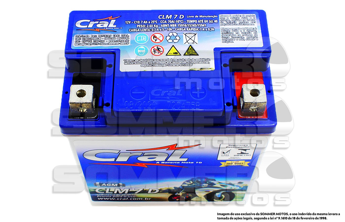 BATERIA SUNDOWN STX 200 MOTARD / HUNTER 125 / MAX 125 ORIGINAL CRAL(CLM7D-YTX7L-BS)