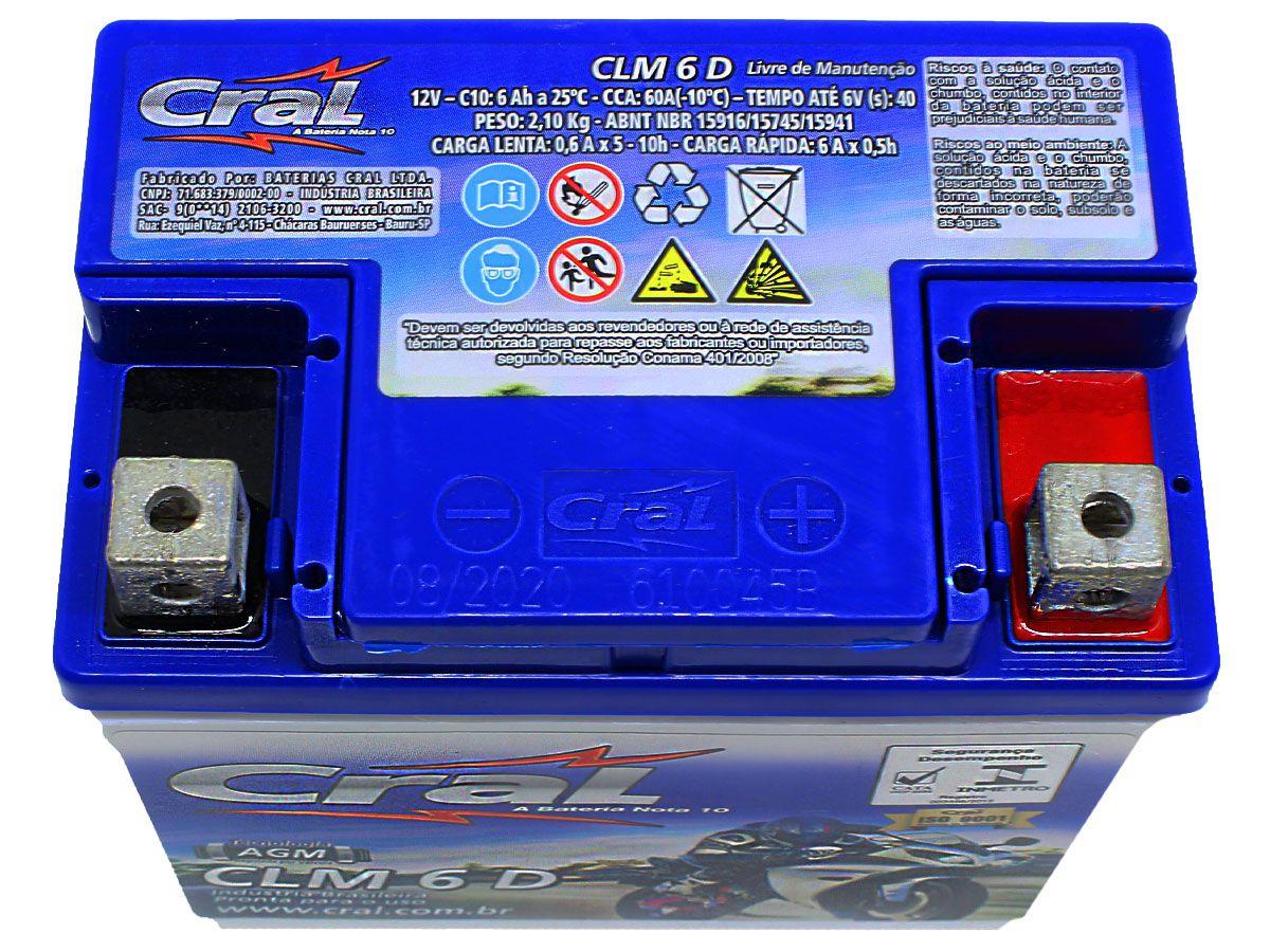 BATERIA TITAN/FAN/CG/MIX 125-150-160 KS/ES/ESD ORIGINAL CRAL (CLM6D-YTZ6V)