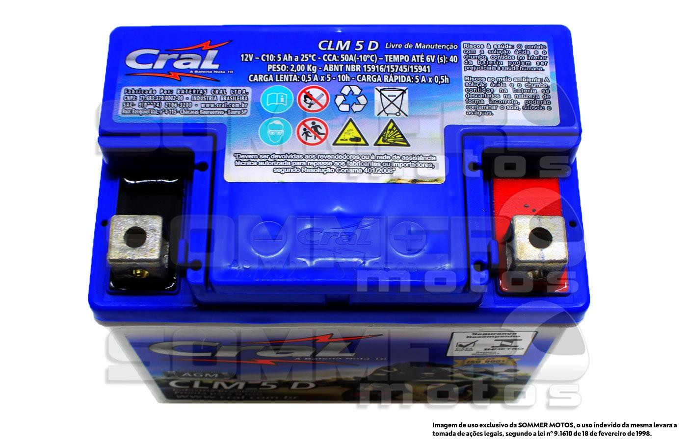 BATERIA XLR 125 2000 A 2002- NXR 125/150 BROS KS ORIGINAL CRAL (CLM5D-YTX5LBS)