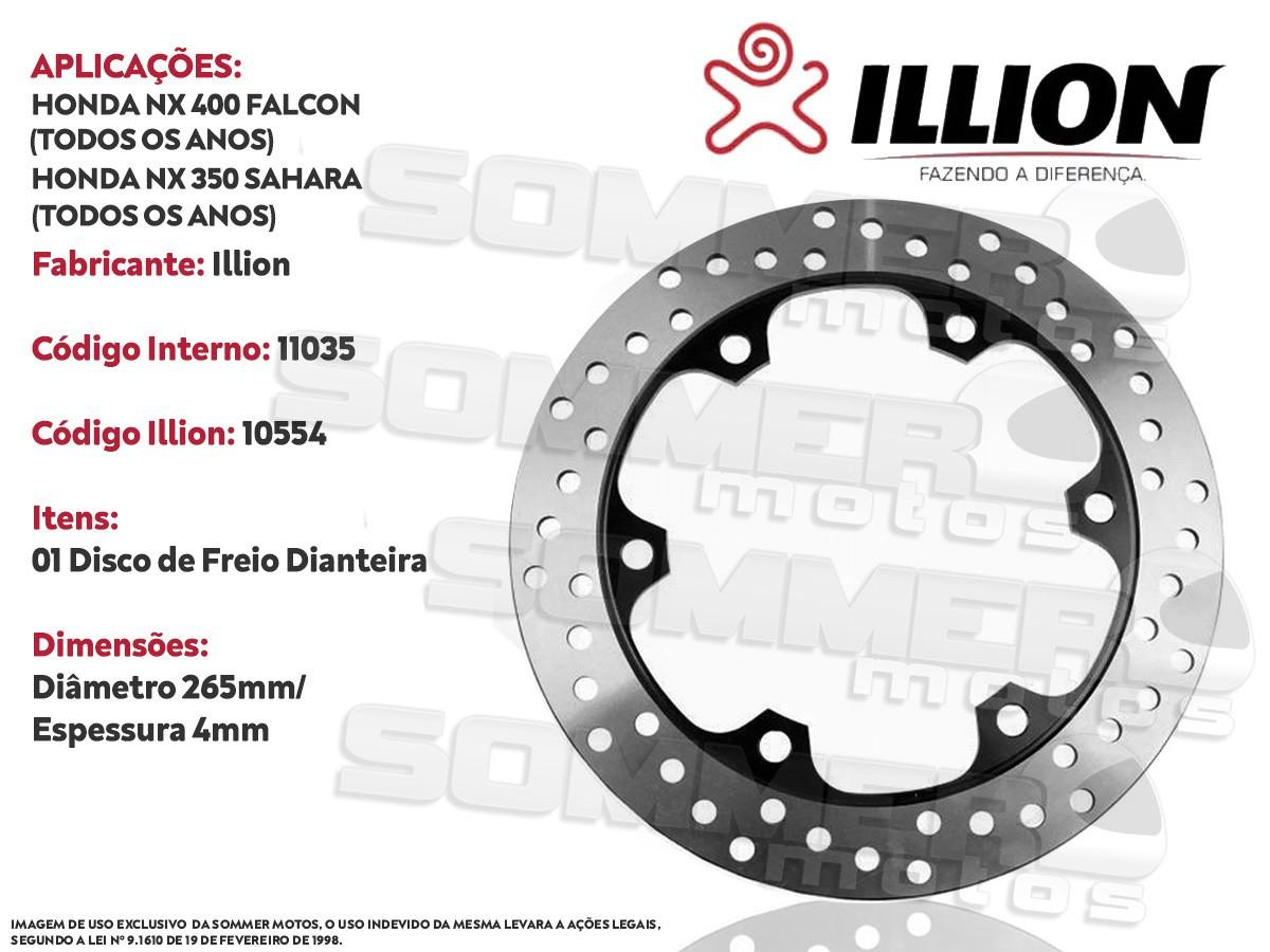 DISCO DE FREIO DIANTEIRO HONDA NX 400 FALCON (TODOS OS ANOS) ILLION